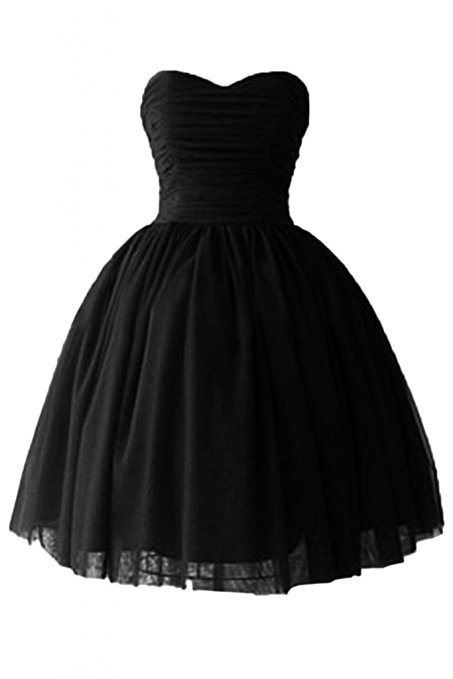vestidos de festa Black Ball Gown Short Dinner   Cocktail     Dresses   2019 for Prom Party   Dress   Tulle Lace Up Prom Gowns Cheap