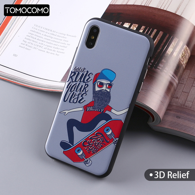 cheap for discount 2c2d1 d756a TOMOCOMO Skater Boy Cool Phone Cases For Iphone 5 5s 6 6s 6Plus 7 7s 7plus  8 8Plus X XS Max Soft Phone Cover Case Phone Shell-in Half-wrapped Case ...