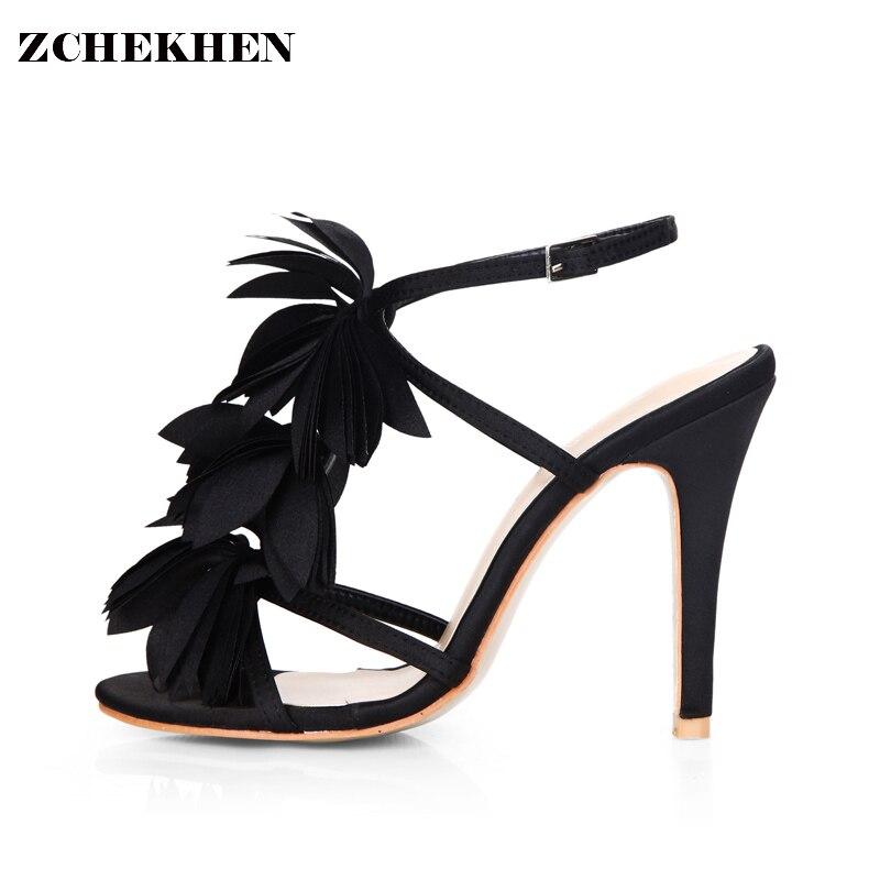 1c0fa65816e8 2018 black Flower leaf Sexy party wedding bridal shoes women thin heel Gladiator  sandals high heels