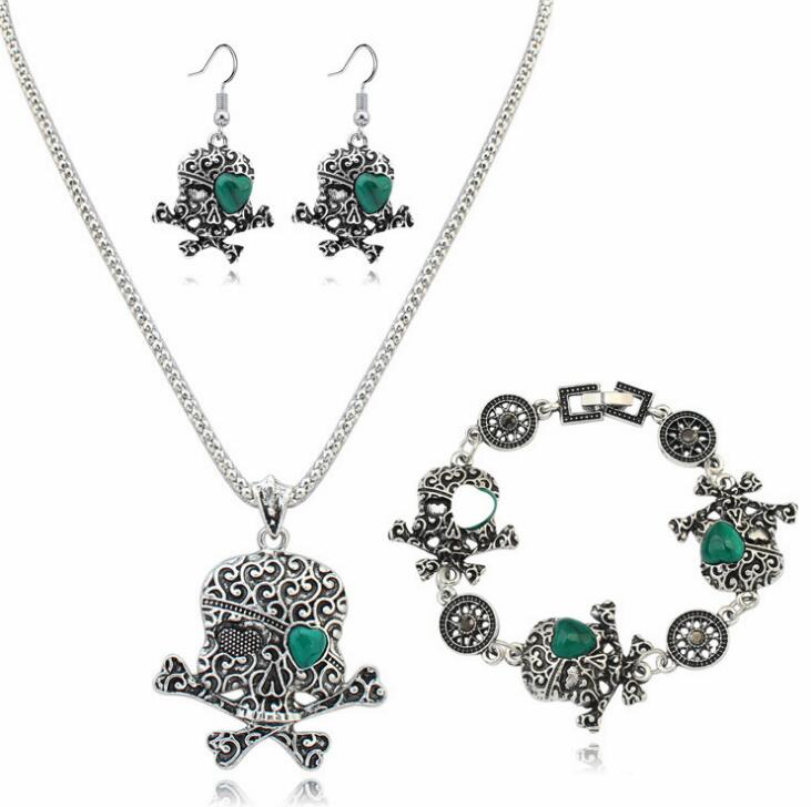 Poem snow Fashion Skull Necklace Earrings Set Chain Set Jewelry