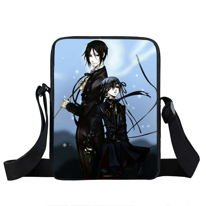 Anime Black Butler Mini Messenger Bag For Teens Kuroshitsuji Ciel Sebastian Black Butler Girls Crossbody Bags Kids Shoulder Bag
