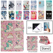 Case For iPad 9.7 2017 2018 Fashion Painted Flip PU Leather Inch Smart Cover Air / 2 Funda