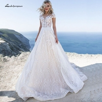 Lakshmigown A Line Wedding Dress Lace 2019 Robe de Mariee Princesse Elegant Long Bridal Dresses Bobo Beach Party with Cap Sleeve