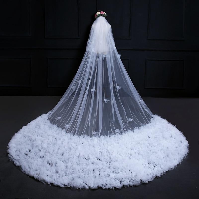 Роскошная 3,8 метров длинная Снежинка большой хвост с двухслойным кружевны основаним ткань с расческой для волос покрытие Марля собора невесты Свадебная белая вуаль