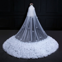 Luxury 3.8 Meters Long Snowflake Big Tail Double Layer Lace Fabric With Hair Comb Cover Gauze Cathedral Bride Wedding White Veil