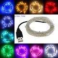 Luzes da corda levaram 5 M 10 M 50/100led 5 V USB alimentado ao ar livre branco Morno/RGB de cobre fio de natal festival festa de casamento decoração
