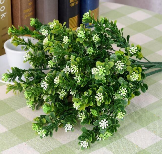 5 Bundles Artificial Milan grass Branch Leaf-shaped For Flower arrangement Wedding Home Bridal Bouquet Decoration
