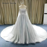 Luxury Silver Ball Gown Sparkle Beaded Wedding Dresses 2019 with Cathedral Train Formal Women Pearls Bridal Gowns robe de mariee