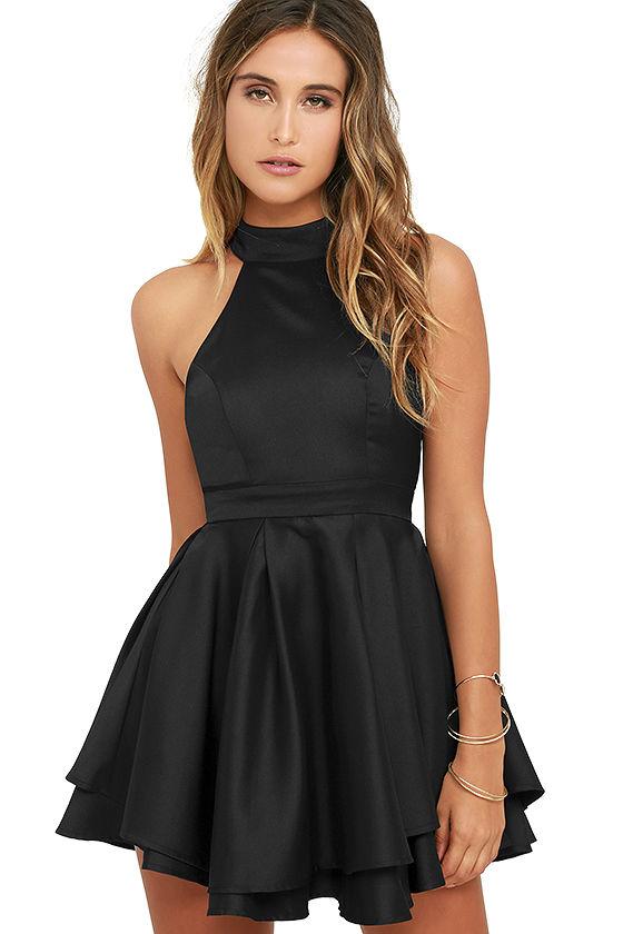 Little Black Cute Short Evening Dresses 2017 Halter Satin Informal