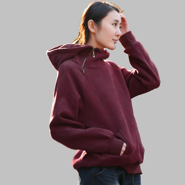 3ec6b78432f Hoodies Women 95% Cotton Thickened Sweatshirts Kangaroo Pocket Long Sleeve  2 Colors Casual Loose Top New Fashion Style 2017