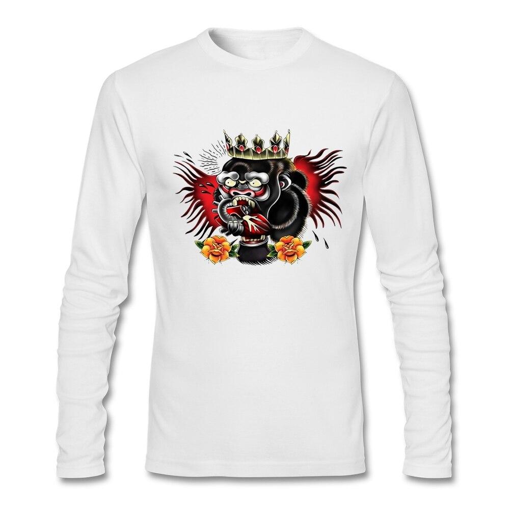 Unique <font><b>Natural</b></font> Cotton Conor McGregor <font><b>Gorilla</b></font> Male Full Sleeves T Shirt Man orangutan O Collar T Shirts