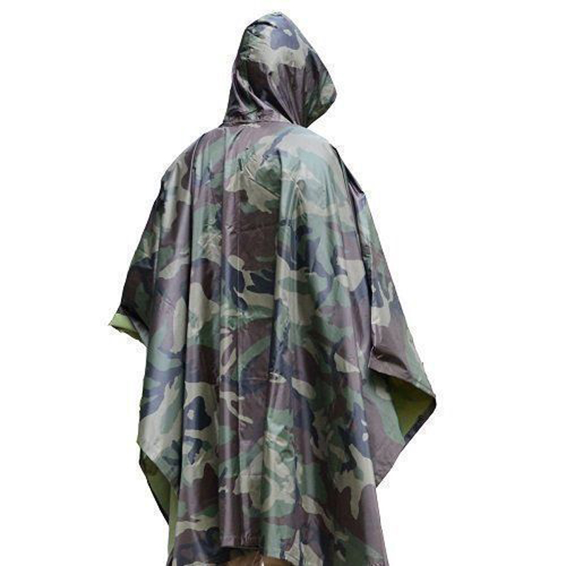 USA Warehouse Wholesale Drop Shipping Military Outdoor Hiking Woodland Wet Weather Camouflage Poncho Raincoat Outdoor Activities|Outdoor Tools|Sports & Entertainment - title=
