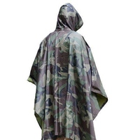 USA Warehouse Wholesale Drop Shipping Military Outdoor Hiking Woodland Wet Weather Camouflage Poncho Raincoat Outdoor Activities