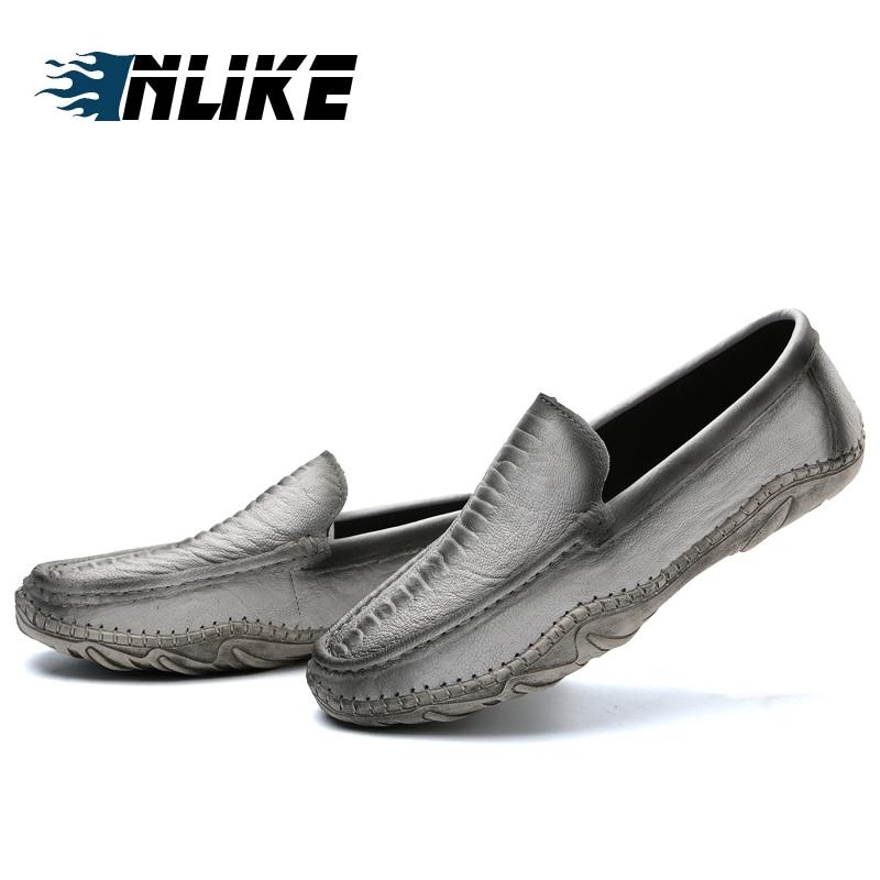 Luxo Preto Couro Mocassins Doug brown branco Inlike Casuais Genuíno On De Condução Preguiçosos Homens Slip Sapatos Dos 6PwwzTfqI
