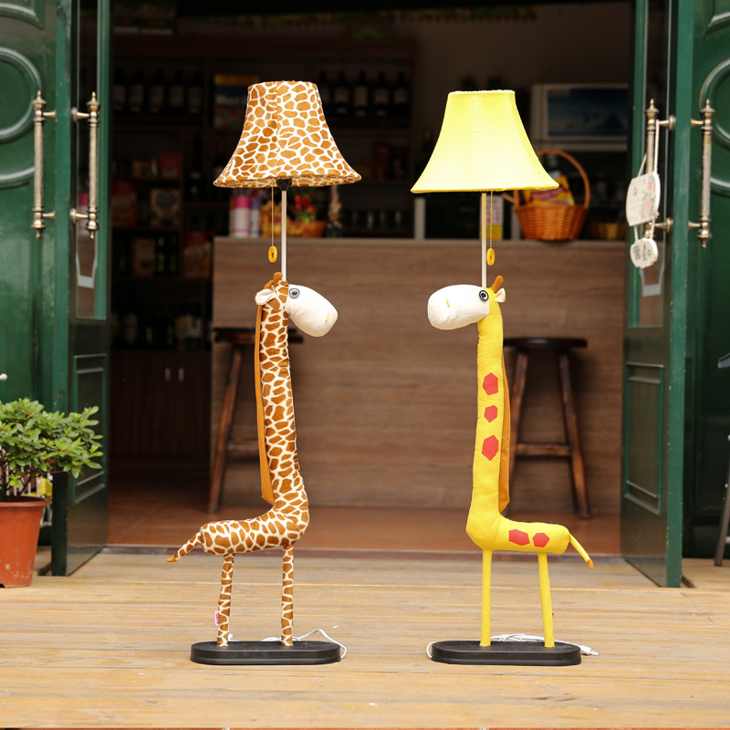 Us 99 5 Cartoon Giraffe Kid S Room Floor Lamps Cute Fabric Baby Lamp Children Bedroom Light In From Lights