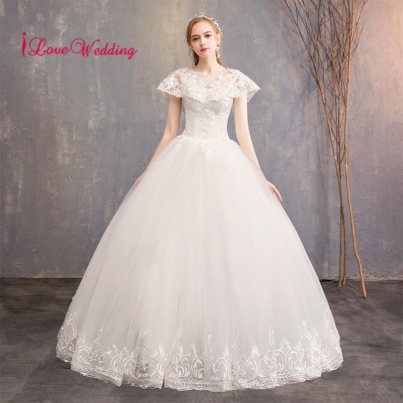 Новое поступление свадебное платье Scoop Кружевная аппликация на воротник