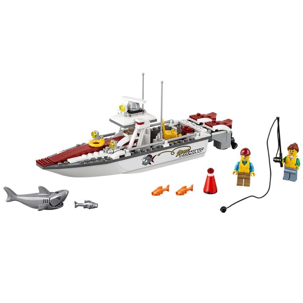159PCS Fishing Boat Compatible City Great Vehicles 60147 Bricks Building Blocks Model toys for Childrens Kids Gift   Model Building