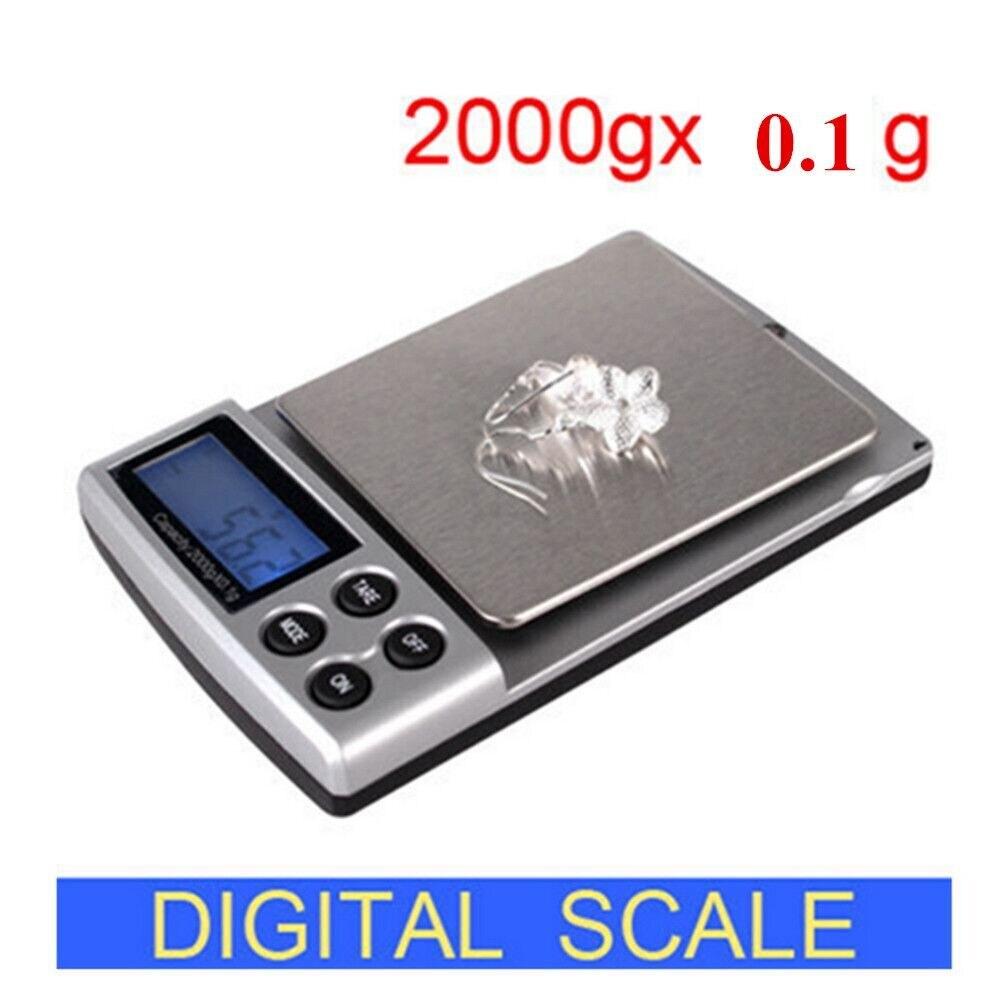 2000G x 0.1g mini bolsillo Gram electrónica digital joyas Básculas pesaje Balanzas de cocina balance pantalla LCD