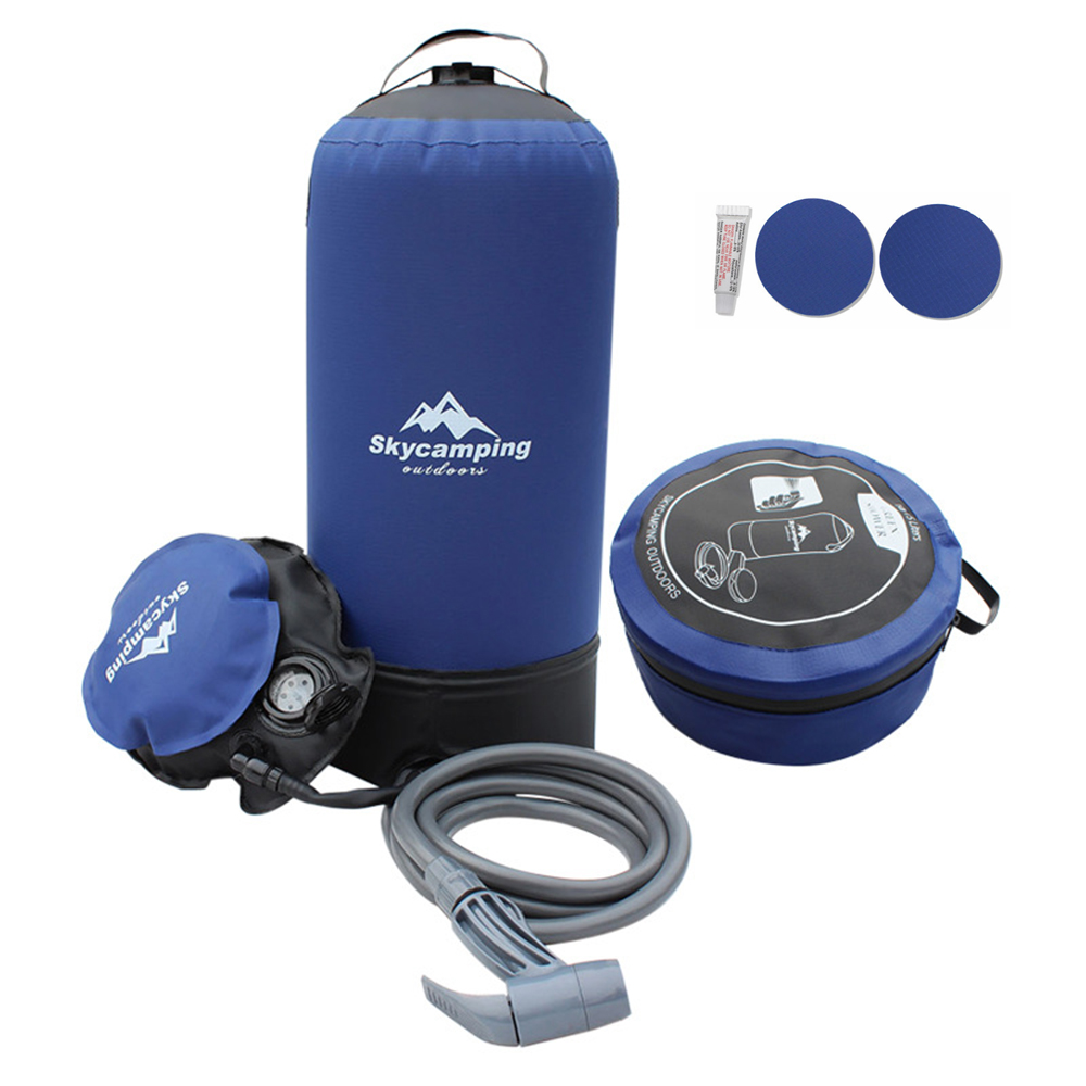 Outdoor 11L PVC Pressure Shower Portable Inflatable Camping Shower with Foot Pump Lightweight Water Bag For Outdoors Camping|Water Bags| |  - title=