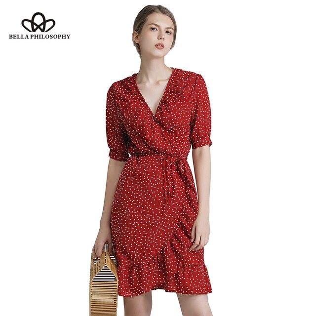 a08d3732a0 Bella Philosophy 2019 summer vintage one piece polka dot print dress  ruffles wrap knee-length