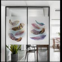 Window Glass stickers Frosted film Watercolor Feather Sticker Bathroom office Polished Opaque