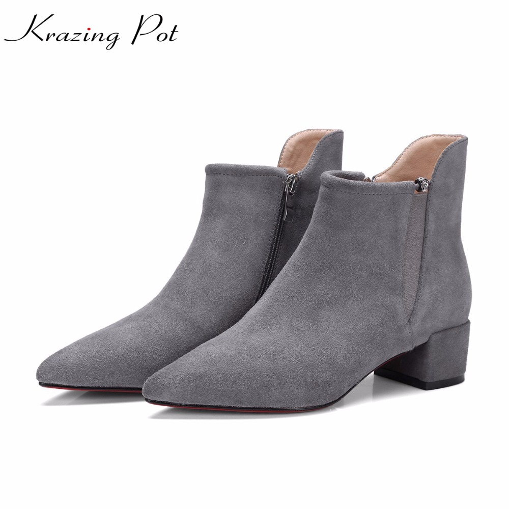 Krazing Pot 2018 new cow suede fashion autumn winter pointed toe thick high heels women office lady nude concise ankle boots L03 krazing pot hot sale cow suede round toe thick high heels fashion office lady bowtie design keep warm quality ankle boots l8f1