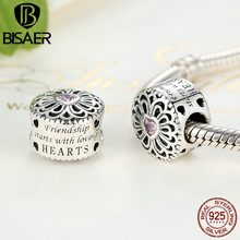 Hot Sale 925 Sterling Silver Love & Friendship, Pink CZ Beads Fit BISAER Charms Bracelets Original Silver 925 Fashion Jewelry(China)