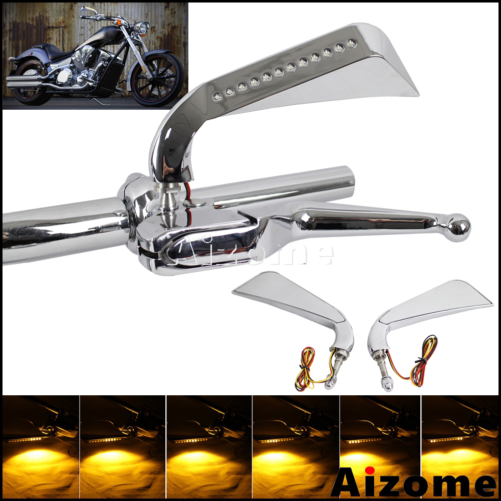 Aluminum Motorcycle LED Side Mirrors w Axe Sequential Turn Signals For Harley Sportster Softail Dyna Electra