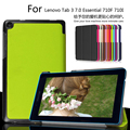 For Lenovo Tab3 7 Essential 710F 710I 7.0 inch Tablet Ultra Slim Custer PU Leather Magnetic Smart Sleep Cover Case + Film + Pen