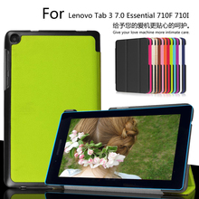 Para Lenovo 7 Tab3 Esencial 710F 710I 7.0 pulgadas Tablet Ultra Delgado Custer PU Cuero Magnético de Smart Sleep Caso de la Cubierta + Film + Pluma