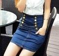 Saias novas Verão Das Mulheres de Alta Cintura Denim Saia Hip Pacote Fino Blue Jeans Curto Mini Jupe Femme Plus Size S-4XL