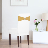 Multicolor Elastic Spandex Chair Cover Sashes Bows Elastic Chair Bands With Buckle Slider Sashes Bows Wedding Decorations 50PCS