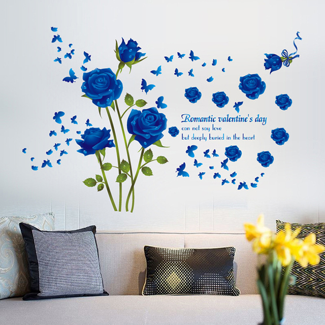 New Arrival Blue Rose Flower Wall Sticker Romantic Valentineu0027s Day Wall Decals Butterfly Stickers diy Living  sc 1 st  AliExpress.com & New Arrival Blue Rose Flower Wall Sticker Romantic Valentineu0027s Day ...