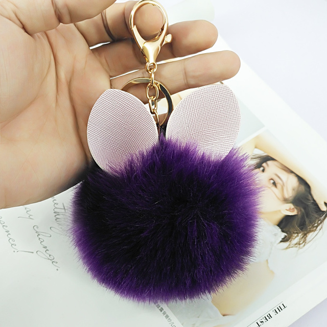 Rabbit Keychain Pokemon Fluffy Fur Ball Key Chains for Women Bags Pendant  Decoration Pom Poms Keyring Fashion Kids Easter Gifts c1d3ed89b9be6