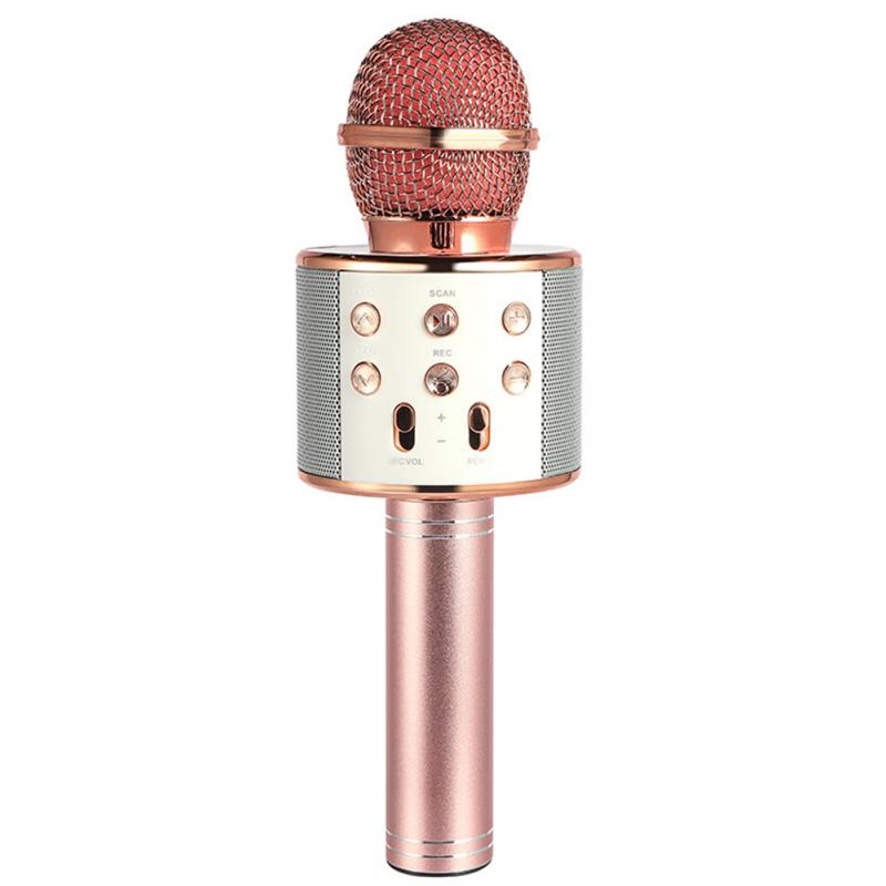 WS-858 Wireless Bluetooth Karaoke Handheld Microphone USB KTV Player Bluetooth Mic Speaker Record Music Microphones цена