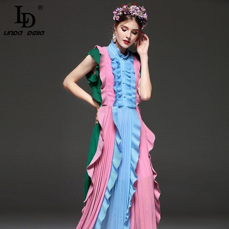 332f4eba55 LD LINDA DELLA wysokiej jakości New Fashion Runway lato sukienka damska bez  rękawów Draped połowy łydki sukienka
