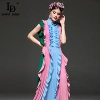 High Quality New Fashion 2016 Runway Dress Women S Sleeveless Draped Mid Calf Dress