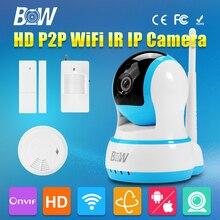 Hd 720 p cámara ip wifi onvif wireless door & motion sensor detector de humo dispositivo de enlace de posicionamiento de alarma cámara de vigilancia