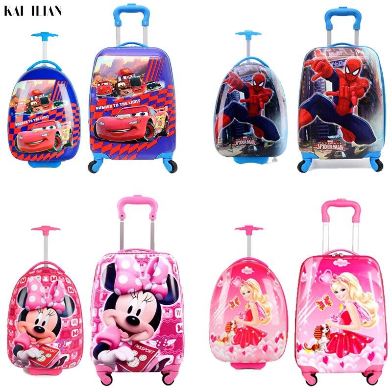 Nouveau bagage rigide pour enfants valise de dessin animé cabine de garçon bagage roulant étudiant voyage chariot bagage pour enfants sac à roulettes