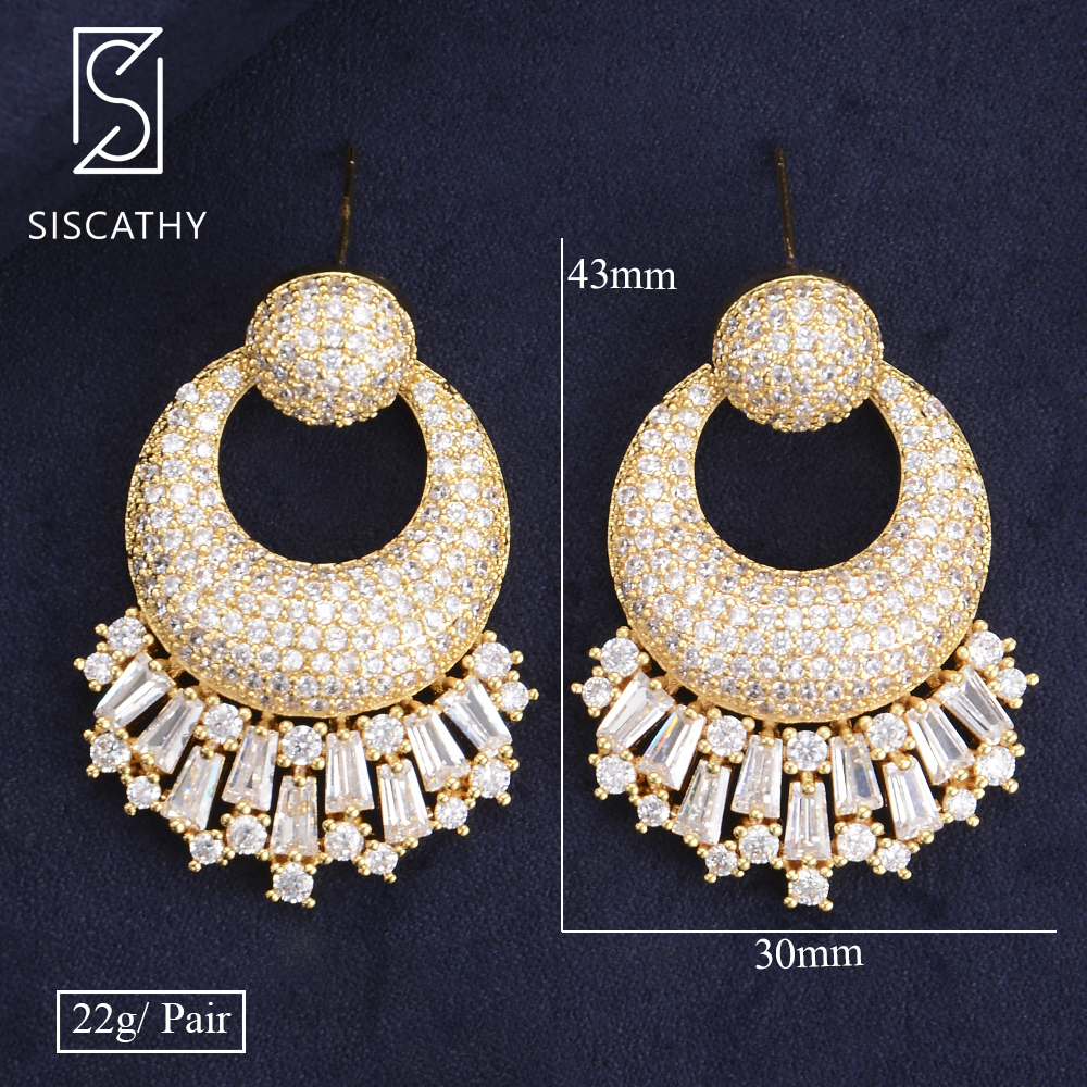 Siscathy 2019 Trendy Full Paved Cubic Zirconia Earrings Geometric Wedding Jewelry Bridal Drop Dangle Earrings For Women Girls in Drop Earrings from Jewelry Accessories
