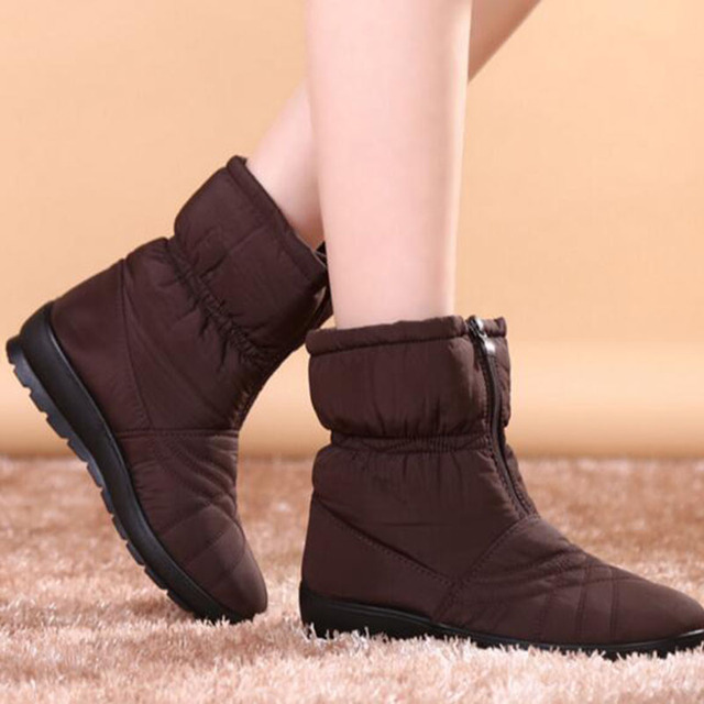 High Quality 2017 Waterproof Flexible Cube Woman Boots Cozy Warm Fur Inside Snow Boots Winter Shoes for Women plus size 42