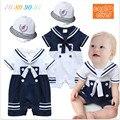 Romper do bebê menino marinheiro da marinha do bebê recém-nascido menino macacão verão manga curta roupa do bebê romper do bebê + chapéu terno infantil roupas