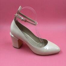 2016 Botas Mujeres Hebilla Correa Tacones Cuadrados Por Encargo Del Partido de Las Señoras Botas de Charol Señaló Zapatos de Mujer Botas Bottes Femmes
