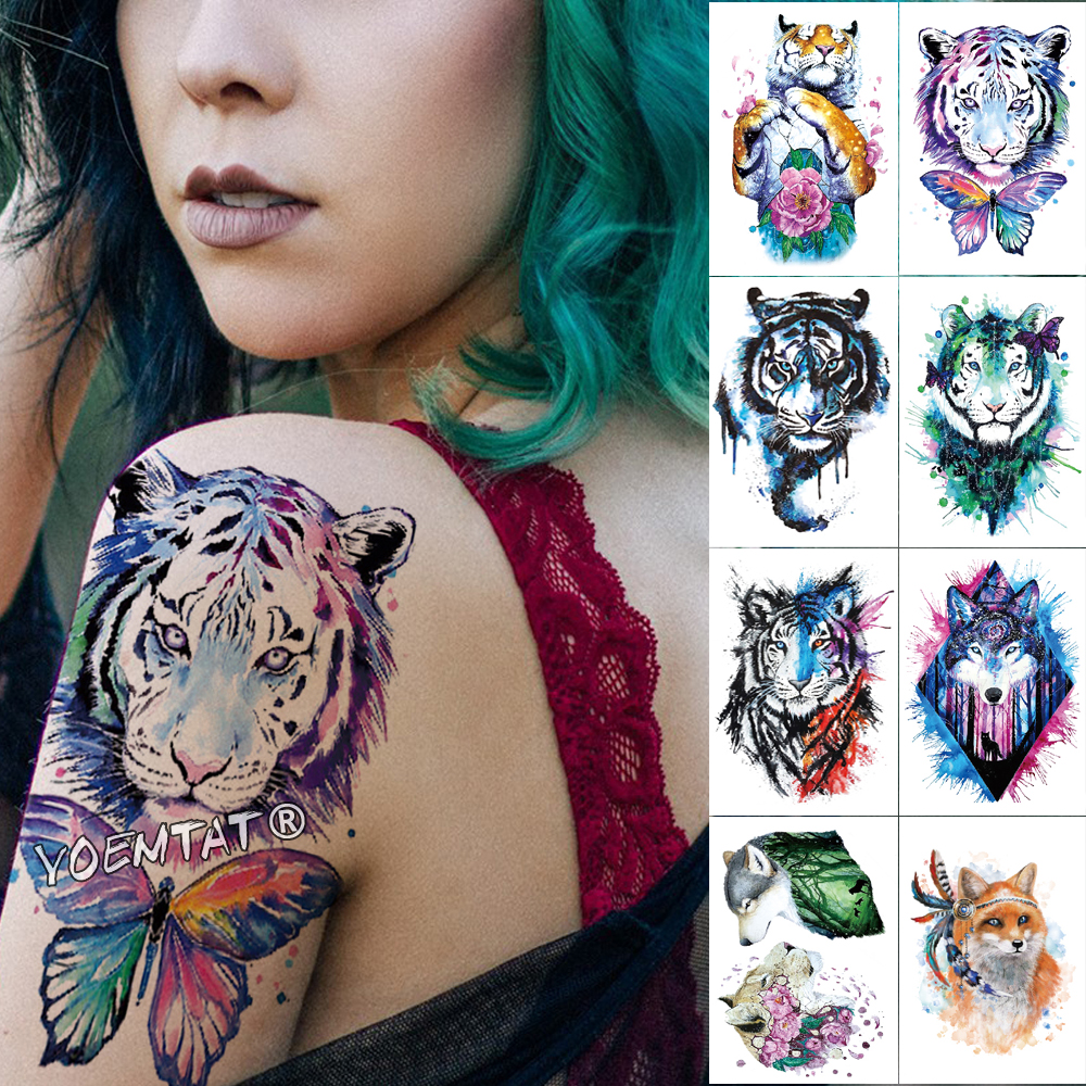 1 Sheet Animal Fake Tattoo Sticker Wolf Tiger Fox Cool Temporary Waterproof Body Art Tatoo Colored Draw For Women Men