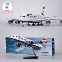 1/160 Scale Airplane Airbus A380 BRITISH Airline Model W Light and Wheel Diecast Plastic Resin Plane For Collection 36cm a380 qatar airlines airbus model qatar international aviation airways resin aircraft model airplane a380 plane model gift