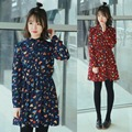 Asia College Fresh Loose Dress Colorful Leaf Printting Chiffon Long Sleeves Bottoming Dress Navy Wine Red For Women