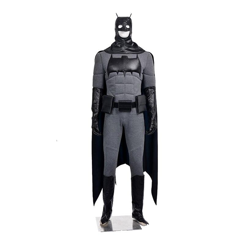 Top Quality Superhero Batman Knight Rises Cosplay Costume Bruce Wayne Halloween Men Full Outfit