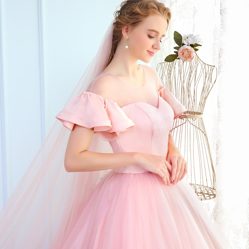 New Arrival Pink   Prom     Dresses   Puffy Ball Gowns Illusion Bodice Ruffles Short Sleeves Vestido De 15 Ano Debutante Party   Dresses