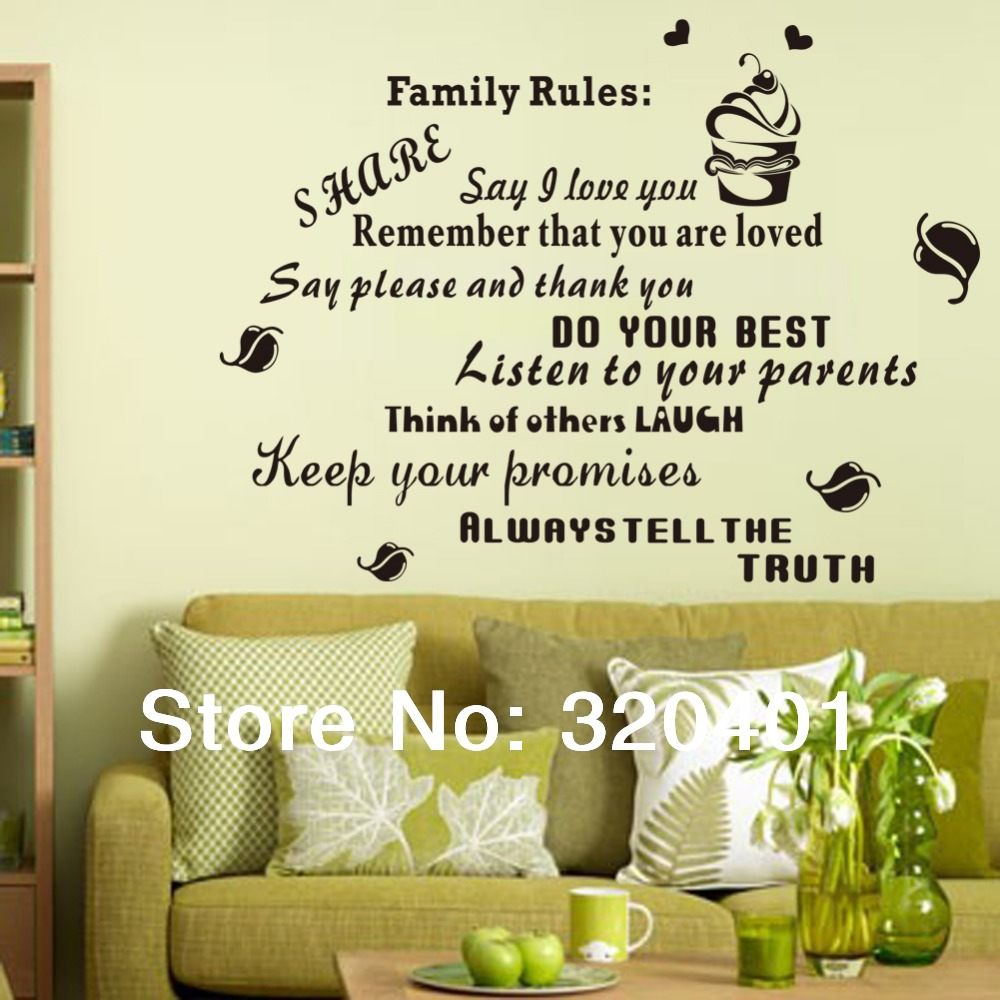 wall sticker words House Rule eco friendly PVC removable sticker ...