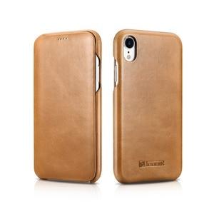 Image 1 - ICARER Luxury Vintage Genuine Leather Case For iPhone XR High Quality Handmade Flip Cover For iPhone XR Retro Leather Case